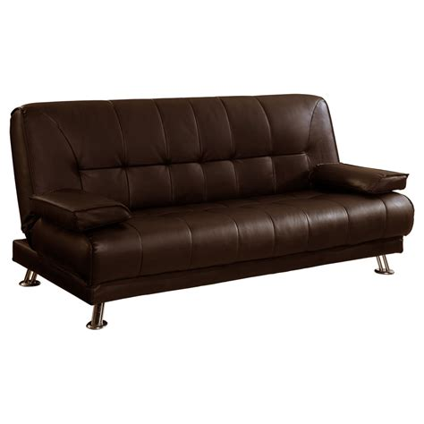 Leather Futon Sofa Venice 3 Seater Sofa Bed Faux Leather W Chrome Legs Cushions Pillows Futon Large Ebay