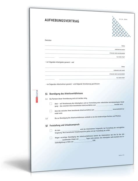 aufhebungsvertrag arbeitsverh 228 ltnis muster zum