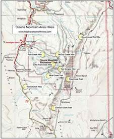map of mountains in oregon day hikes in the steens mountain area