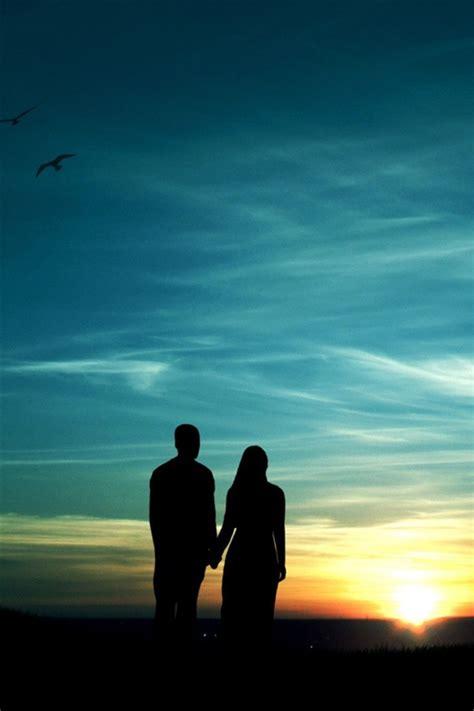 imagenes fondo de pantalla romanticas tarde rom 225 ntica pareja puesta del sol silueta iphone