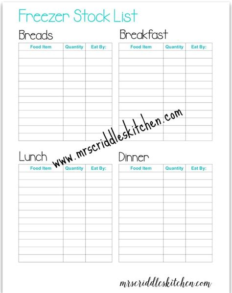 Kitchen Stock List by Freezer Stock List Free Printables