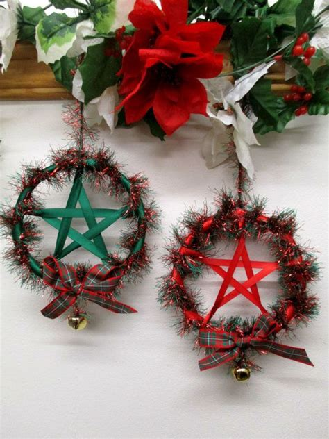 pagan christmas decorations handmade pagan wiccan fluffy sparkly yule pentacle wreath wall hanging altar decoration