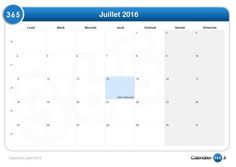 Calendrier Juillet Calendrier Juillet 2016