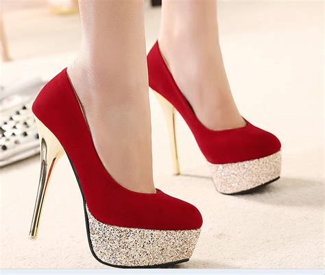 Latest Designs of Red Hot Fancy High Heel Shoes for Girls