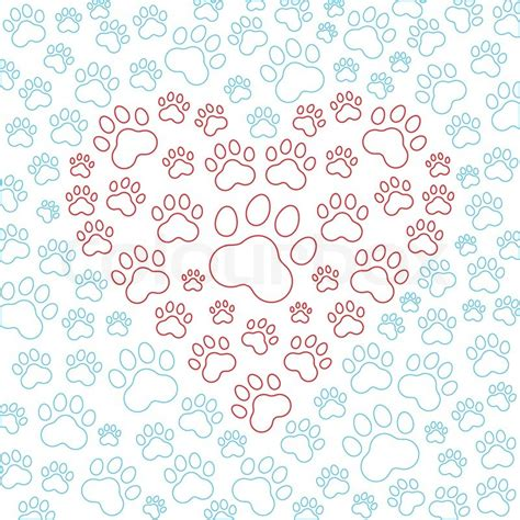 cat vector wallpaper heart with dog or cat paws background vector illustration