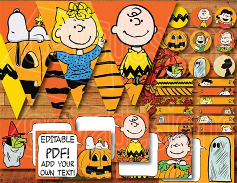 printable snoopy birthday decorations items similar to printable quot it s the great pumpkin