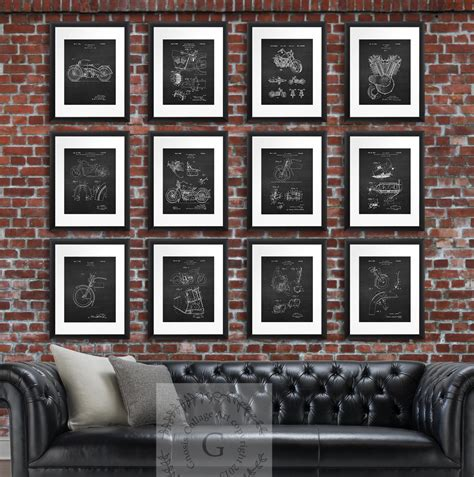 harley davidson home decor wall patent by gnosiscollageart
