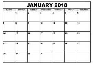Calendar 2018 January Pdf January 2018 Calendar Printable Template Pdf Uk Usa Canada