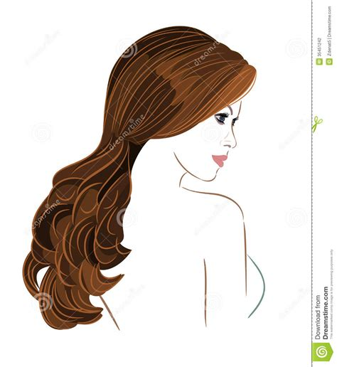 vector hair tutorial illustrator girl with long brown hair stock vector image of cosmetic