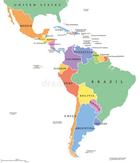 south america map with country names america single states political map stock vector