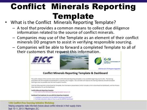 eicc conflict minerals reporting template 12th cfsi workshop sept 10 2013 in region overview