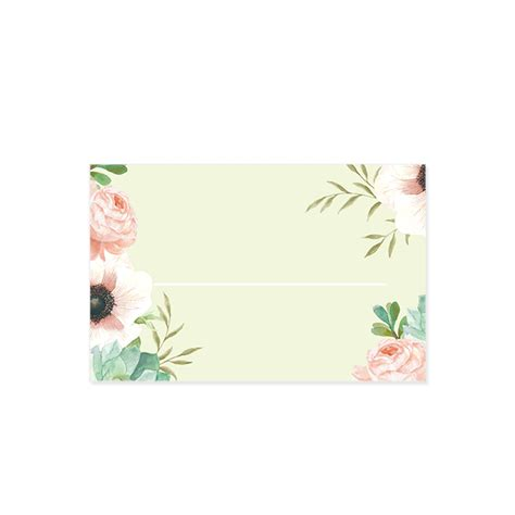 mint wedding place cards custom wedding place card with watercolor flowers in pink and mint