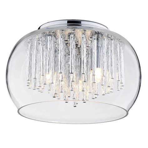 glass bowl l shade flush glass ceiling light with bowl shade 3 light chrome
