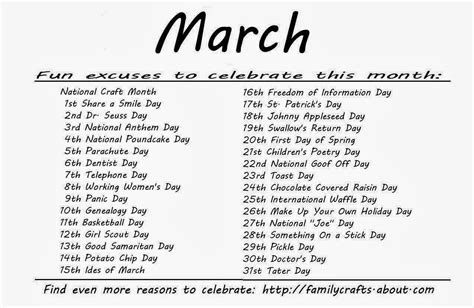 Calendar Of Special Days Kindergarten And Mooneyisms Special Days March