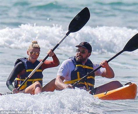 Garner Paddles A Surfboard by Ben Affleck Hits The Waves With Lindsay Shookus