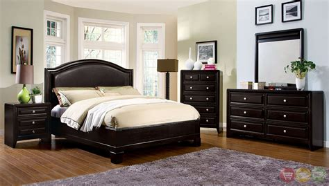 winsor contemporary espresso platform bedroom set  padded leatherette headboard cm