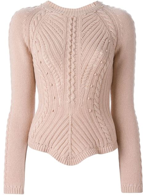 pink cable knit sweater valentino cable knit sweater in pink pink purple
