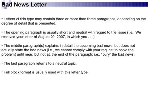 Writing A Business Letter With Bad News business communication chap 2 business writing