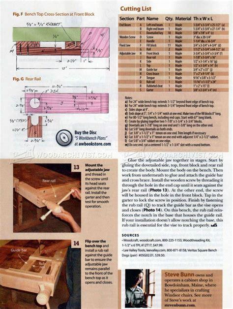 wooden tail vise plans woodarchivist