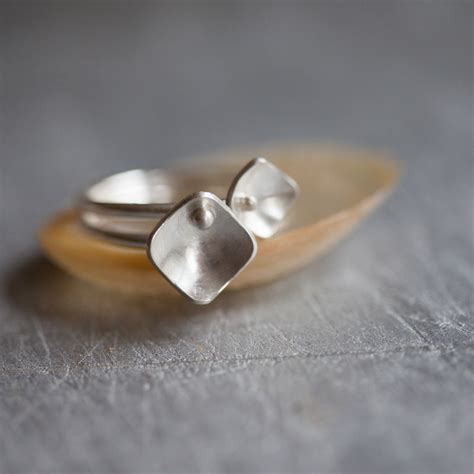 squares and pearls two silver stacking rings elizabeth
