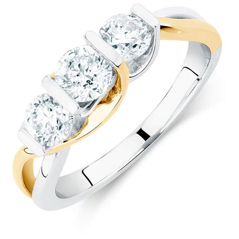 Engagement Ring With 1 Carat Tw Of Diamonds In 14ct Yellow by Three Engagement Ring With 1 Carat Tw Of Diamonds In