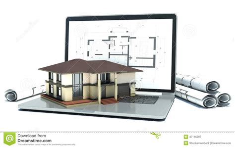 Home Floor Plans With Prices by Laptop And Drawings With House Project 3d Stock