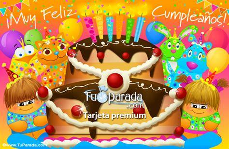 imagenes de cumpleaños karla tarjeta de cumplea 241 os con gran torta cumplea 241 os tarjetas