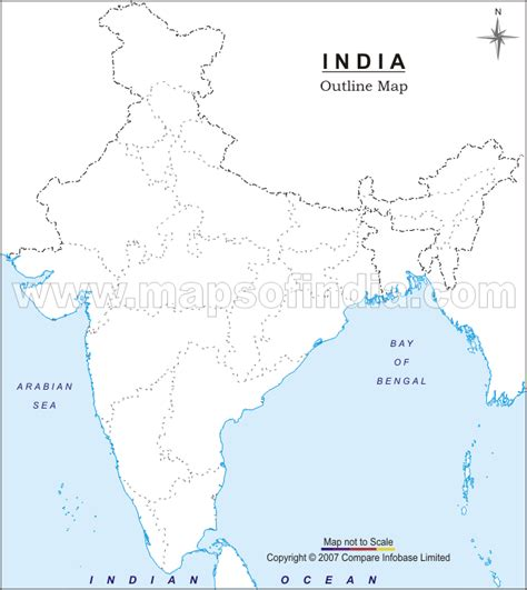 India River Map Outline Plain by India Blank Physical Map