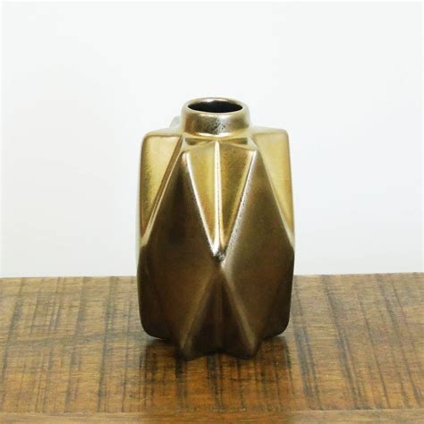 Geometric Vase by Small Bronze Geometric Ceramic Vase By The Den Now