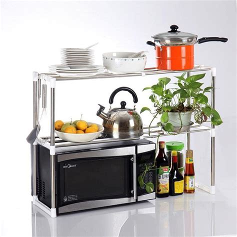 Rak Oven Microwave Stainless Steel Shelf Rak Penyimpanan microwave oven stainless steel shelf storage rack silver