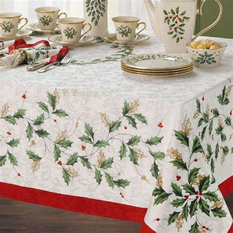 lenox holiday table linens christmas leaves embroidery