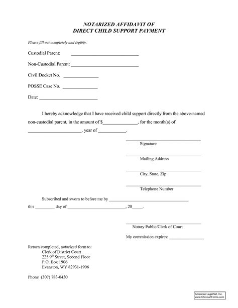 child support agreement template best photos of notarized affidavit form affidavit blank