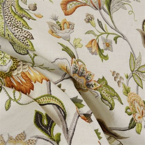 fabric home decor fabric jacobean floral fabric 1 by brissac amber floral jacobean linen fabric traditional