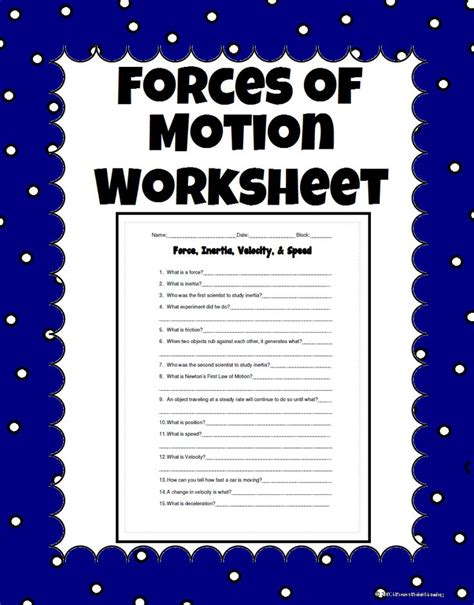 force inertia velocity and speed science worksheet