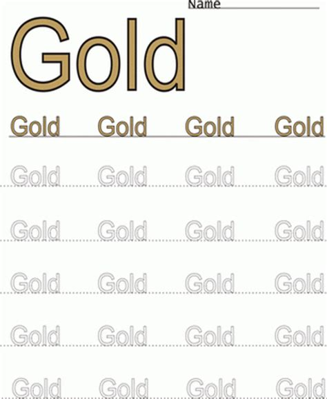 Gold Worksheets by Printable Gold Word Color Coloring Worksheet Coloring
