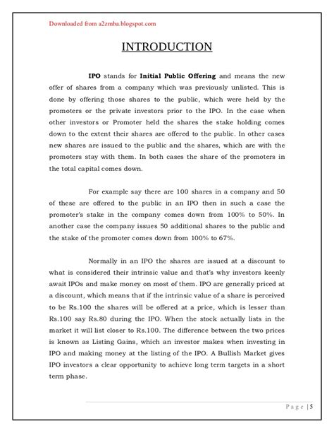 Ipo Project Mba Pdf by 100510165 21050379 Ipo Project Report