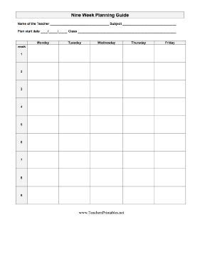 out of plan template teachers can plan nine week out with this blank lesson