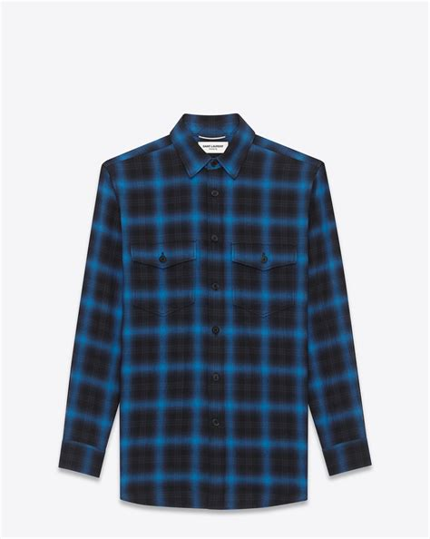 Kemeja Tartan Black Blue laurent oversized shirt in blue and black tartan plaid cotton ysl
