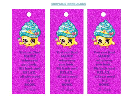 Home Decor Paper Crafts by Girls Parties Shopkins Shopkins Bookmarks Free