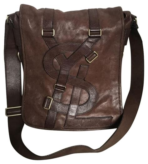 vintage monogram brown leather messenger bag tradesy