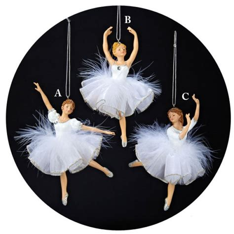 white and silver ballerina with feather tutu christmas