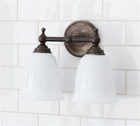 pottery barn bathroom fixtures quinn beaded double sconce traditional bathroom vanity