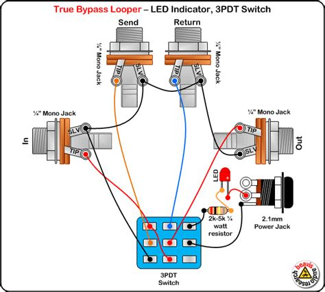true bypass looper led dpdt switch wiring diagram