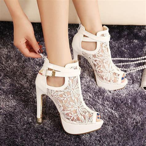 white high heeled boots new 2014 summer platform open peep toe high heels
