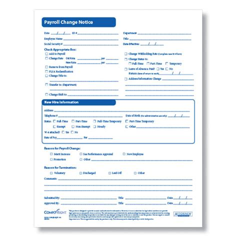 payroll change notice form template payroll change form for documenting employee payroll changes
