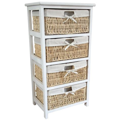 Bathroom Storage Units With Baskets Maize Storage Unit 2 3 4 Basket Drawer White Wood Organiser Bathroom Bedroom Ebay