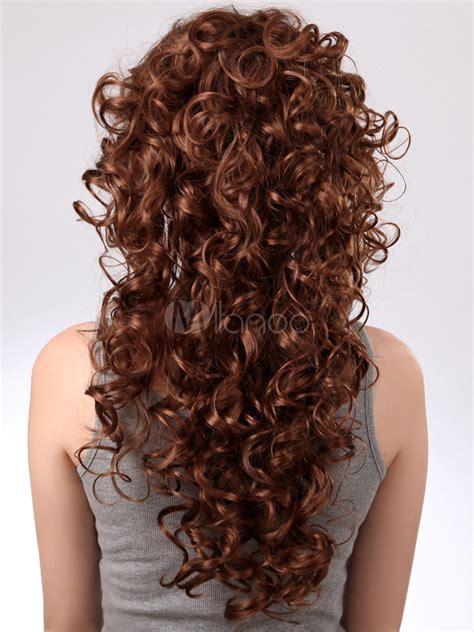 barrel curl wigs unique dark brown synthetic barrel curls woman s long wig