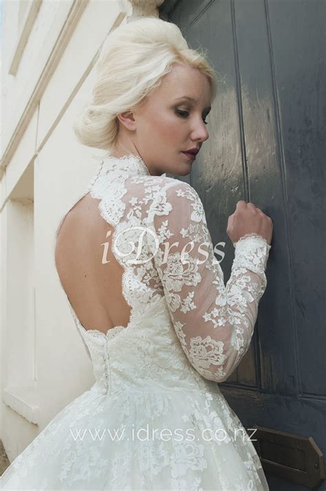 Vintage Wedding Dress 2 by Lace Ivory Tea Length Illusion Neck Sleeve