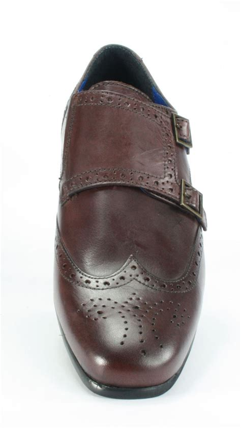 mens tempo leather brogue monk