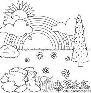 dibujo paisaje arco iris dibujos colorear